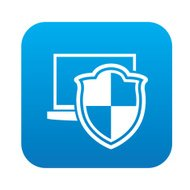 Security laptop on blue flat button,clean vector