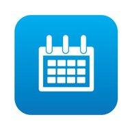 Calendar icon on blue button,clean vector