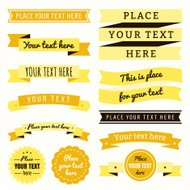 Ribbons vintage vector set in yellow and brown colors