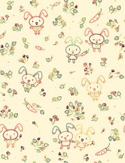 Vector seamless cute pattern, rabbits and flora.