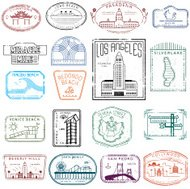 Los Angeles stamps of destinations