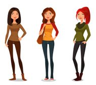 cute cartoon girls in autumn fashion