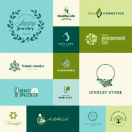 Set of modern flat design nature and beauty icons