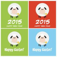 Collection of Sheep Flat Design With Different Background