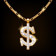 Dollar sign jewelry necklace on golden chain.