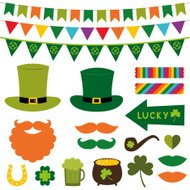 St. Patrick's Day photo booth props and scrapbooking vector set