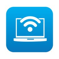 Wireless design on blue button background,vector