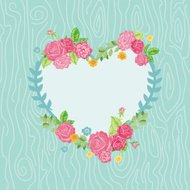 Beautiful Card with Floral Heart Wreath