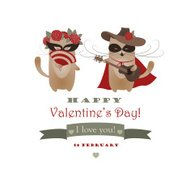 Couple of funny valentine cats, Zorro cat and his girlffriend