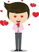 young man in love and rose vector