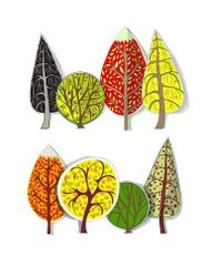 Autumn trees set made of paper background