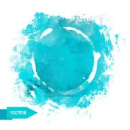 Watercolor blue circle paint stain