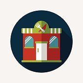 Building restaurant flat icon with long shadow,eps10