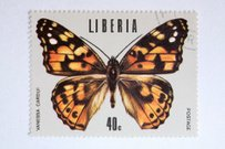 Close up of liberian post stamp showing a butterfly