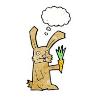 cartoon rabbit with carrot with thought bubble