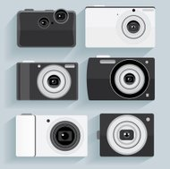 flat design camera set collection vector illustrations