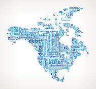 North America On Business Word Cloud Pattern