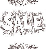 Big sale sketch. Hand drawn vector illustration with twigs, pine