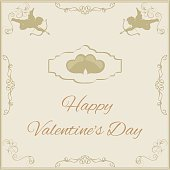 greeting card for Valentine's Day in vintage styl