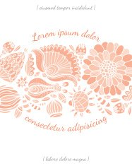 Invitation card with flower vector template