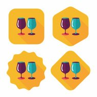 kitchenware glass cup flat icon with long shadow,eps10