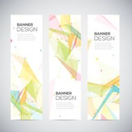 Vector vertical banners set with polygonal shapes, circles, line