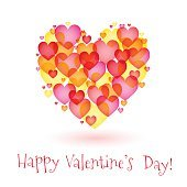 vector background with a simple multi-colored hearts on the day