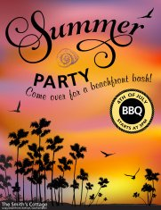 Summer Beach Party Invitation With Palm Trees And Sunset