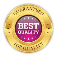 Purple best quality badge with gold border