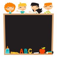 Retro Kids Back To School Blackboard Copyspace