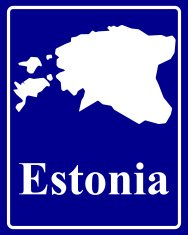 silhouette map of Estonia