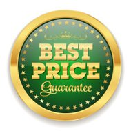 Green best price badge with gold border