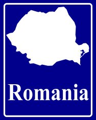 silhouette map of Romania