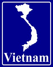 silhouette map of Vietnam