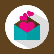 Valentine letter, flat icon with long shadow