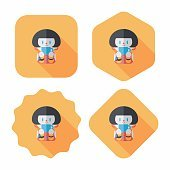 lady drinking coffee flat icon with long shadow,eps10