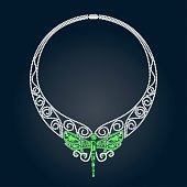 Necklace With Green and White Precious Stones and Shape of Dragonfly.