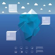 Polygon iceberg concept vector design with infographic menu opti