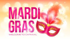 Pink vector Mardi Gras banner template with red carnival mask
