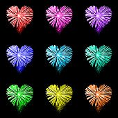 Rainbow heart shaped fireworks