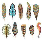 Set of ten feathers