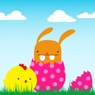 cute bunny in egg with chick - vector
