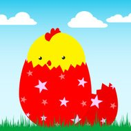 cute chick in egg - vector