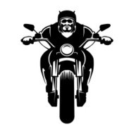 Biker icon. Man on a motorcycle