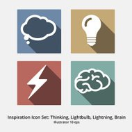 Inspiration Icon Set: Thinking, Lightbulb, Lightning, Brain. Mod