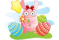 Easter funny bunny with flower and eggs
