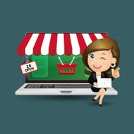 People Set - E-shopping - Businesswoman. Online shopping. PC