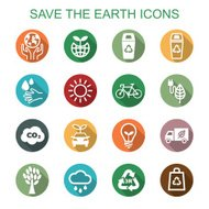 save the earth long shadow icons