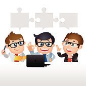 People Set - Business - Group of businessmen with jigsaw