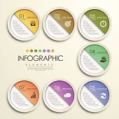 modern colorful circle paper sticker style infographic